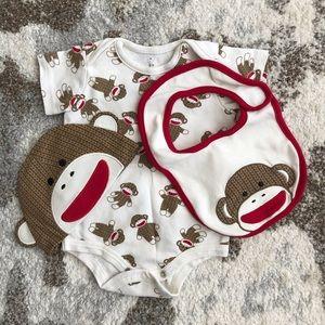 3-6 months boy 4 piece monkey print outfit set